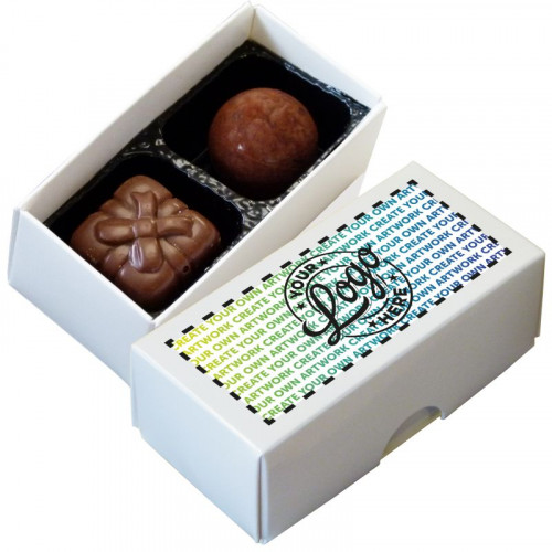 Promotional - 2 Chocolate Assortment Presented in a White Box Finished With A Full Colour Digital Print on Lid