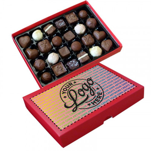 Promotional - 24 Chocolate Assortment Presented in a Red Box Finished With A Full Colour Digital Print on Lid
