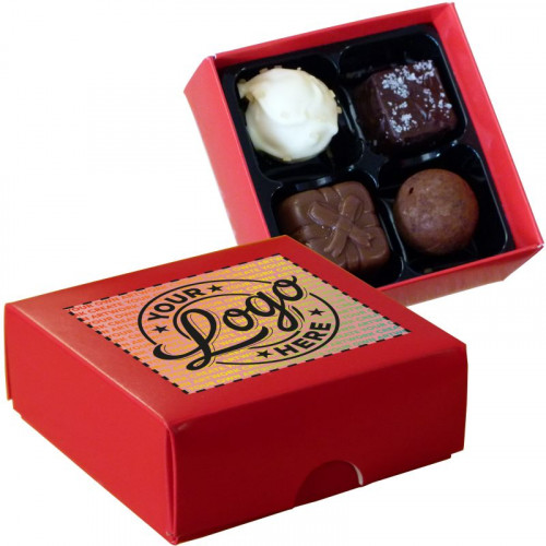Promotional - 4 Chocolate Assortment Presented in a Red Box Finished With A Full Colour Digital Print on Lid