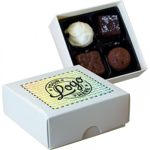 Promotional - 4 Chocolate Assortment Presented in a White Box Finished With A Full Colour Digital Print on Lid