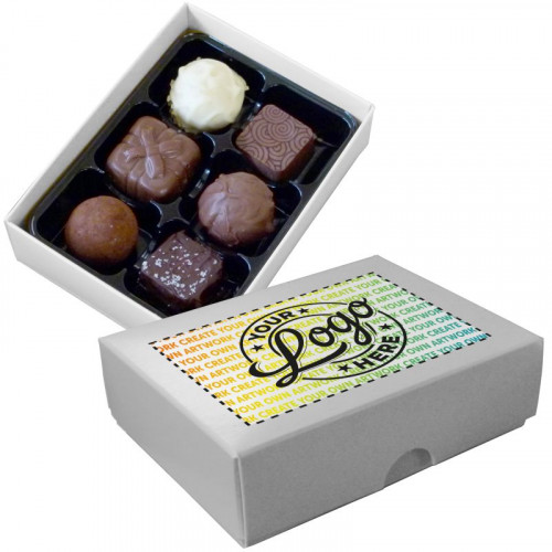Promotional - 6 Chocolate Assortment Presented in a White Box Finished With A Full Colour Digital Print on Lid
