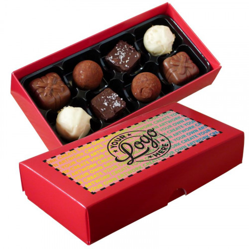 Promotional - 8 Chocolate Assortment Presented in a Red Box Finished With A Full Colour Digital Print on Lid