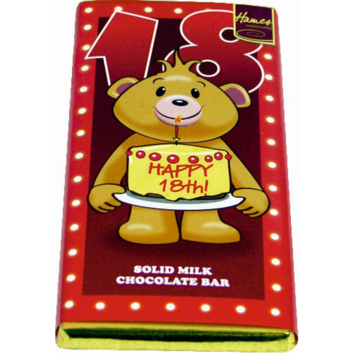 Sentiment - Personal 80g Milk Chocolate Bar - Happy 18th Birthday  x Outer of 12
