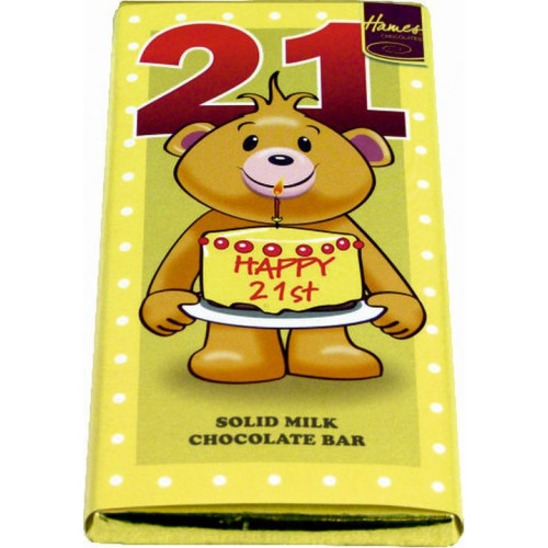 Sentiment - Personal 80g Milk Chocolate Bar - Happy 21st Birthday  x Outer of 12