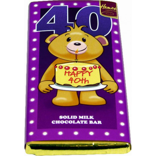 Sentiment - Personal 80g Milk Chocolate Bar - Happy 40th Birthday  x Outer of 12