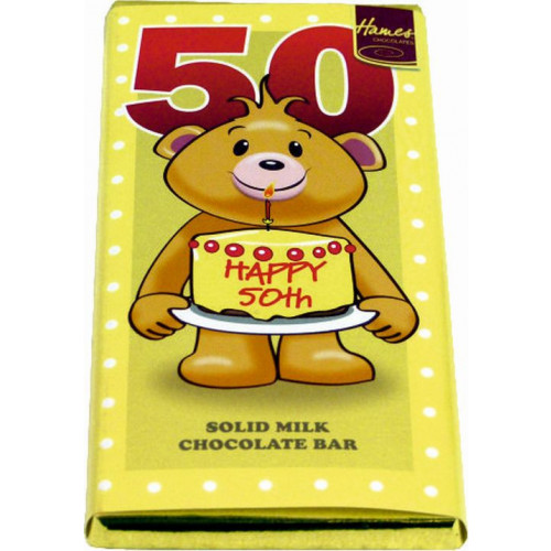 Sentiment - Personal 80g Milk Chocolate Bar - Happy 50th Birthday  x Outer of 12