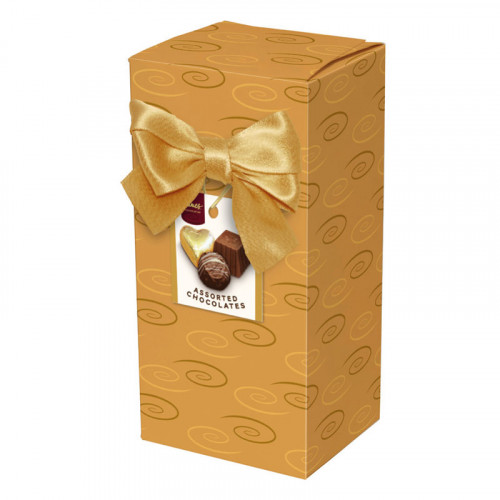 Chocolate & Truffles Assortment Ballotin Presented in a Gold Swirl Printed Box & Finished with a Gold Twist Tie Bow and Swing Tag 150g  x Outer of 9
