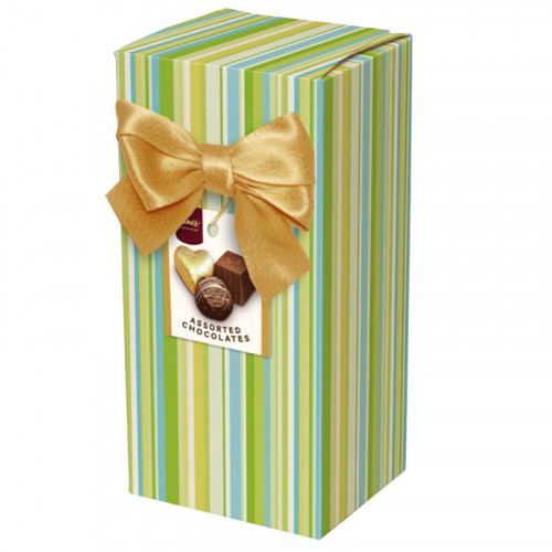 Chocolate & Truffles Assortment Ballotin Presented in a Green Stripe Printed Box & Finished with a Gold Twist Tie Bow and Swing Tag 150g  x Outer of 9