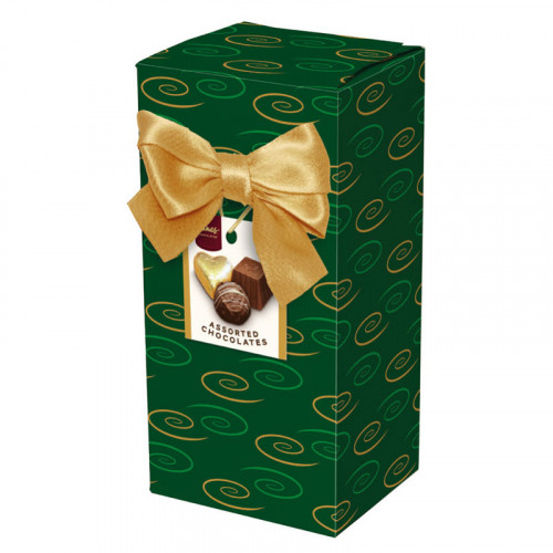 Chocolate & Truffles Assortment Ballotin Presented in a Green Swirl Printed Box & Finished with a Gold Twist Tie Bow and Swing Tag 150g  x Outer of 9