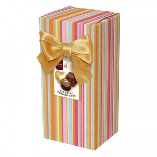Chocolate & Truffles Assortment Ballotin Presented in a Multi Stripe Printed Box & Finished with a Gold Twist Tie Bow and Swing Tag 150g  x Outer of 9