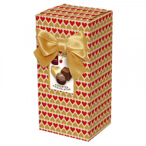 Chocolate & Truffles Assortment Ballotin Presented in a Heart Printed Box & Finished with a Gold Twist Tie Bow and Swing Tag 150g  x Outer of 9