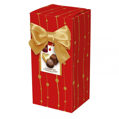 Chocolate & Truffles Assortment Ballotin Presented in a Red And Gold Printed Box & Finished with a Gold Twist Tie Bow and Swing Tag 150g  x Outer of 9