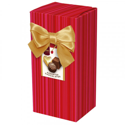 Chocolate & Truffles Assortment Ballotin Presented in a Red Stripe Printed Box & Finished with a Gold Twist Tie Bow and Swing Tag 150g  x  Outer of 9