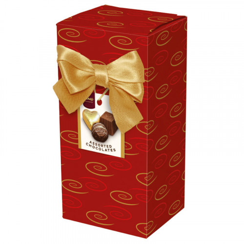 Chocolate & Truffles Assortment Ballotin Presented in a Red Swirl Printed Box & Finished with a Gold Twist Tie Bow and Swing Tag 150g  x Outer of 9