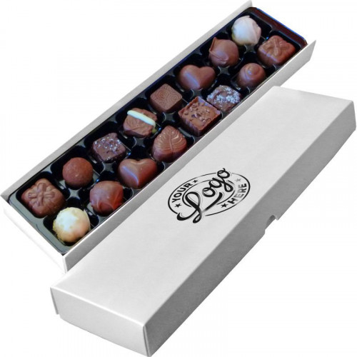 Promotional - 16 Chocolate Assortment Presented in a White Box Finished With a Single Gloss Black Colour Foil Print on Lid