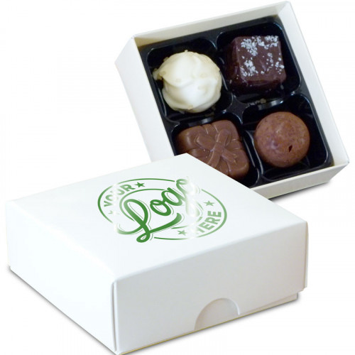 Promotional - 4 Chocolate Assortment Presented in a White Box Finished With a Single Gloss Green Colour Foil Print on Lid