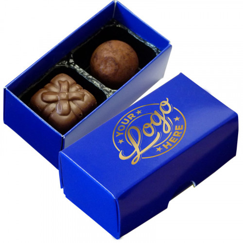 Promotional - 2 Chocolate Assortment Presented in a Blue Box Finished with a Single Colour Foil Print