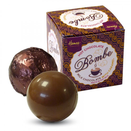 Hames Pack of 2Hot Chocolate Bombes - Milk Chocolate & a Milk Chocolate with Caramel Flavour Rainforest Alliance MB Cocoa