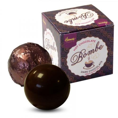 "Hames Pack of 2Hot Chocolate Bombes - VEGAN FRIENDLY ""Alternative"" Milk Chocolate & a Dark Chocolate Rainforest Alliance MB Cocoa"