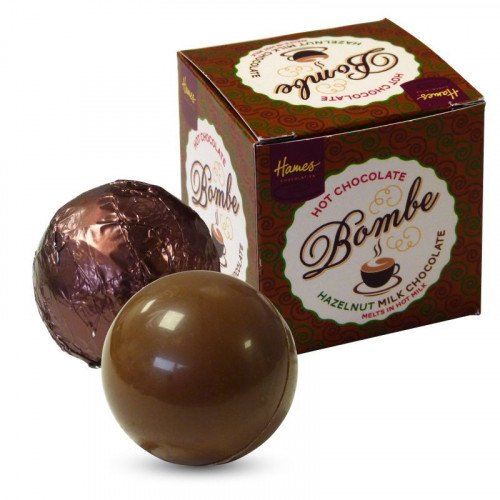 Hames Pack of 2 Hot Chocolate Bombes - Milk Chocolate & a Milk Chocolate with Hazelnut Flavour Rainforest Alliance MB Cocoa