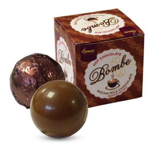 Hames Pack of 2 Hot Chocolate Bombes - Milk Chocolate & a Milk Chocolate Mocha Flavour Rainforest Alliance MB Cocoa
