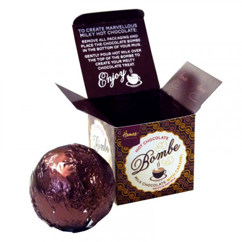 Hames Hot Chocolate Bombe - Milk Chocolate with a Shot of Caramel Flavouring Rainforest Alliance Cocoa