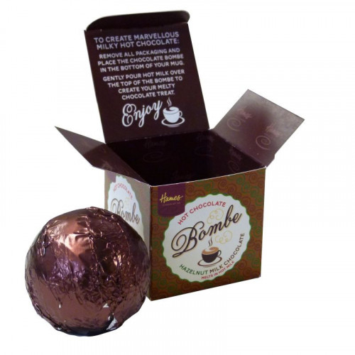 Hames Hot Chocolate Bombe - Milk Chocolate with Shot of Hazelnut Flavouring Rainforest Alliance Cocoa