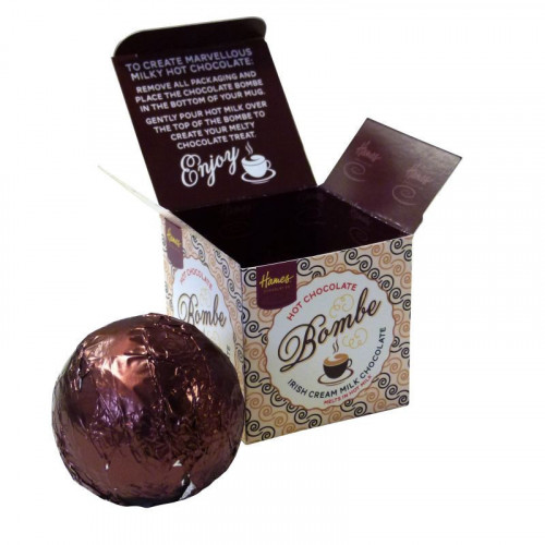 Hames Hot Chocolate Bombe - Milk Chocolate With a Shot of Irish Cream Flavouring Rainforest Alliance Cocoa