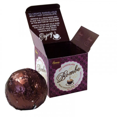 Hames Hot Chocolate Bombe - Milk Chocolate with an Explosion of Mini Mallows Rainforest Alliance Cocoa