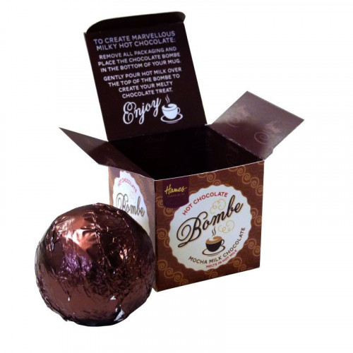 Hames Hot Chocolate Bombe - Milk Chocolate With a Shot of Mocha Flavouring Rainforest Alliance Cocoa