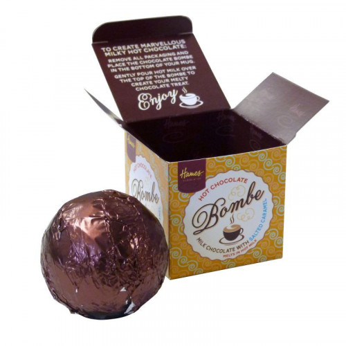 Hames Hot Chocolate Bombe - Milk Chocolate with a Shot Salted Caramel Flavouring Rainforest Alliance Cocoa