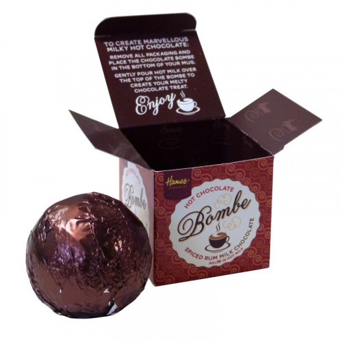 Hames Hot Chocolate Bombe - Milk Chocolate with a Shot of Spiced Rum Flavouring Rainforest Alliance Cocoa