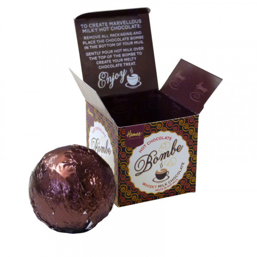 Hames Hot Chocolate Bombe - Milk Chocolate with a Shot of Whisky Flavouring Rainforest Alliance Cocoa