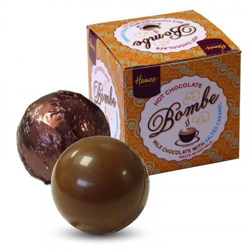 Hames Pack of 2Hot Chocolate Bombes - Milk Chocolate & a Milk Chocolate with Sea Salt & Caramel Flavour Rainforest Alliance MB Cocoa
