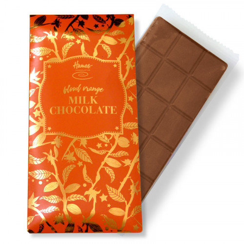 Bronze Collection - Blood Orange Milk Chocolate 80g Bar Finished with an Orange Sleeve and a Bronze Foil Print