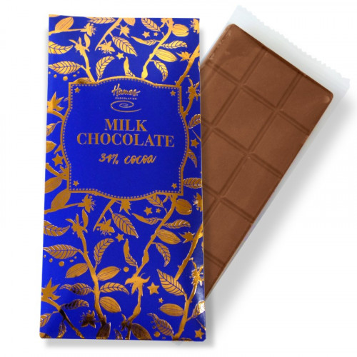Bronze Collection - Milk Chocolate 34% Cocoa 80g Bar Finished with a Blue Sleeve and a Bronze Foil Print