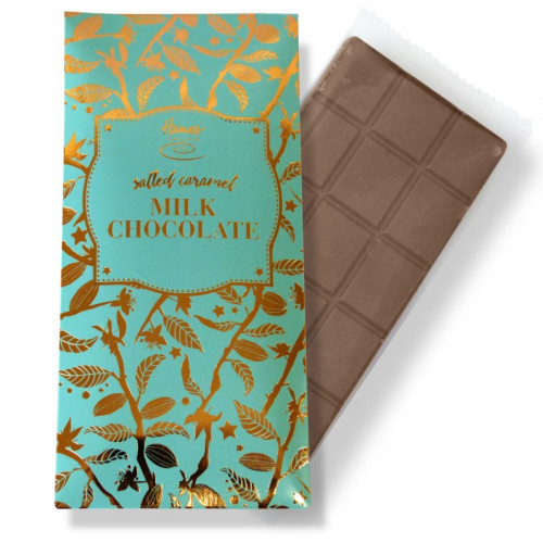 Bronze Collection - Salted Caramel Milk Chocolate 80g Bar Finished with a Aqua Sleeve and a Bronze Foil Print