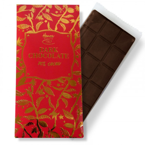 Bronze Collection - Vegan Friendly Dark Chocolate 70% Cocoa 80g Bar Finished with a Red Sleeve and a Bronze Foil Print