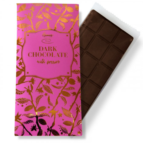 Bronze Collection - Vegan Friendly Dark Chocolate with Berries 80g Bar Finished with a Pink Sleeve and a Bronze Foil Print