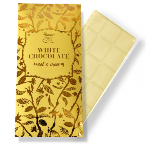 Bronze Collection - White Chocolate 80g Bar Finished with a Buttermilk Yellow Sleeve and a Bronze Foil Print