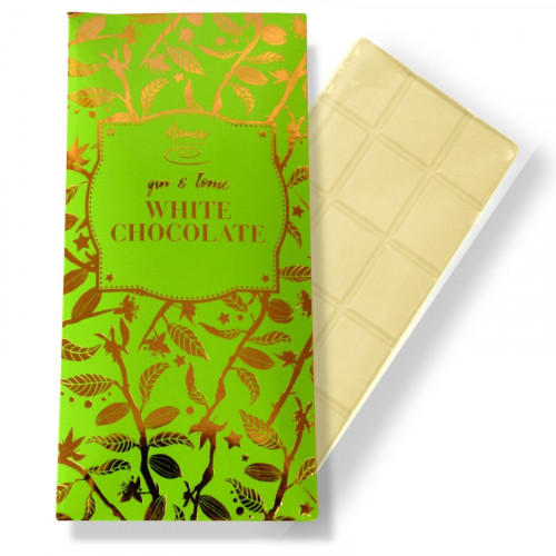 Bronze Collection - White with Gin Flavouring & Juniper Berries Chocolate 80g Bar Finished with a Green Sleeve and a Bronze Foil Print
