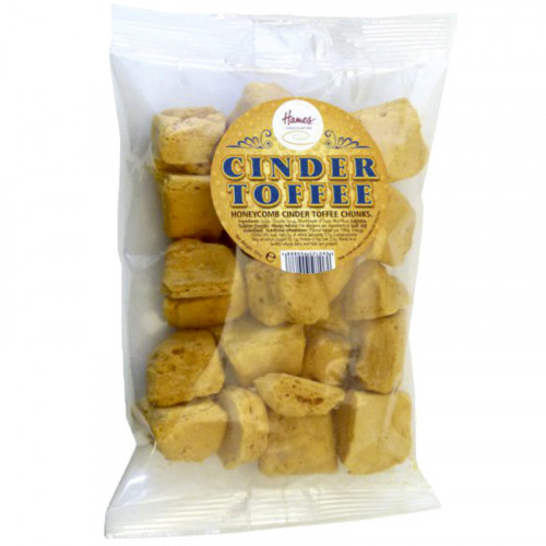 Hames - Cinder Toffee in a Clear Euro Slot Bag for Hanging with Label 100g  x Outer of 20