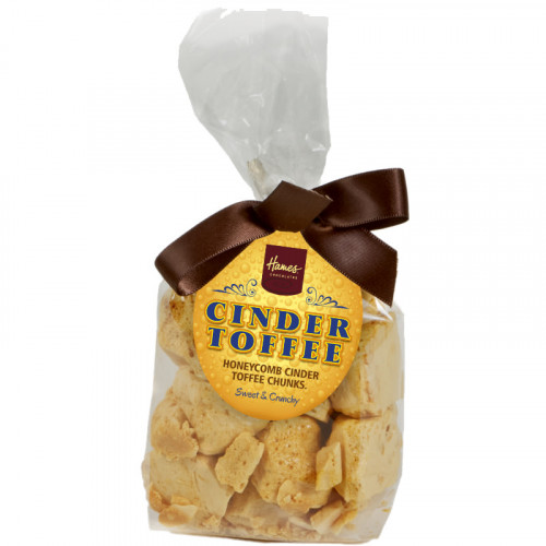 Hames - Cinder Toffee Bag Finished with a Swing Tag and BrownTwist Tie Bow 100g  x Outer of 12