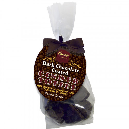 Hames - Dark Chocolate Covered Cinder Toffee Finished with a Swing Tag and Brown Bow 130g