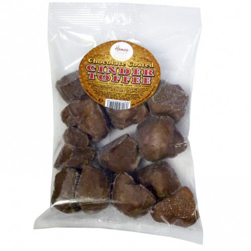 Hames - Milk Chocolate Covered Cinder Toffee in a Clear Euro Slot Bag for Hanging with Label 130g  x Outer of 20