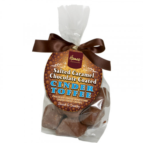 Hames - Milk Chocolate & Salted Caramel Flavour Covered Cinder Toffee Finished with a Swing Tag and Brown Bow 130g