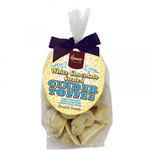 Hames - White Chocolate Covered Cinder Finished with a Swing Tag & Brown Twist Tie Bow 130g