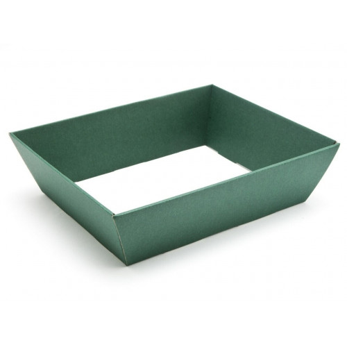 Medium Green Elegant Texture-Embossed Matt Finish Card Hamper Tray 65mm (D) - 256 x 200mm at Top Tapering to 210 x 166mm at the Bottom