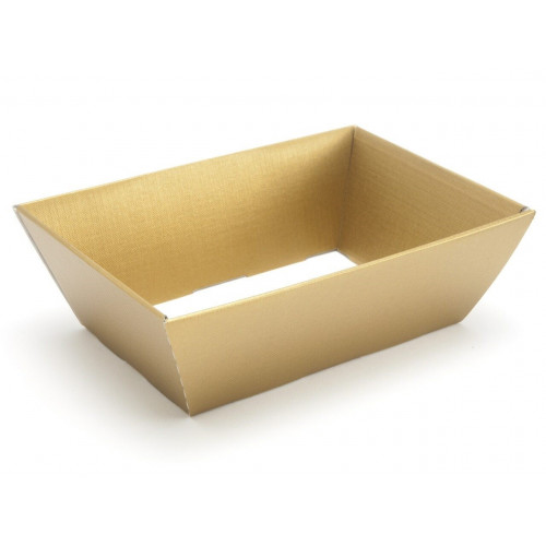 Small Gold Elegant Texture-Embossed Matt Finish Card Hamper Tray 70mm (D) - 200 x 128mm at Top Tapering to 154 x 94mm at the Bottom