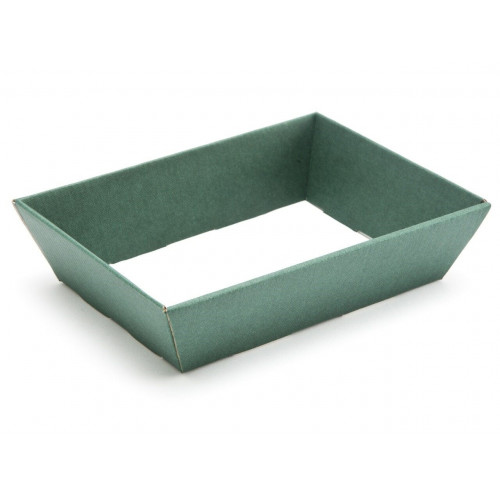 Small Shallow Green Elegant Texture-Embossed Matt Finish Card Hamper Tray 45mm (D) -180 x 126mm at TopTtapering to 148 x 102mm at the Bottom